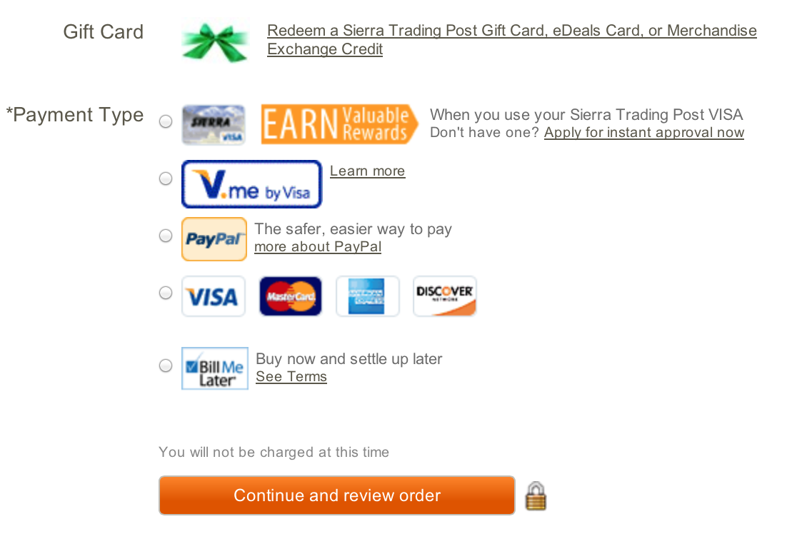 sierra trading post multiple payment options